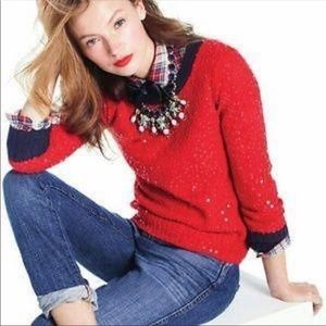 J. Crew Red Scattered Sequin Holiday Sweater